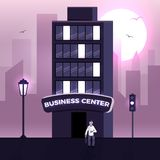 Business center vector. Late night working businessman vector concept. Illustration of corporate business center building with dark and light windows. Skyscraper Stock Photo