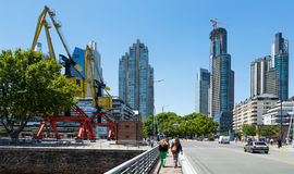 Business centers in riverfront area. BUENOS AIRES, ARGENTINA – JANUARY 27, 2017: Business centers buildings in riverfront area. Buenos Aires, Argentina royalty free stock images