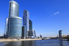 Business Centre and bridge Bagration, Moscow Stock Image