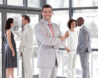Business CEO with team in the background Royalty Free Stock Image