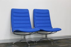 Business chair. Blue chairs in business office Royalty Free Stock Photos