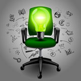 Business chair with Green light bulb on hand drawn business icon Royalty Free Stock Photos