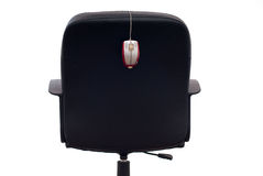 Business chair with mouse. Business concept with chair and mouse isolated on white Royalty Free Stock Photography