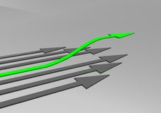Business challenge. 3d business challenge illustration - arrows Stock Image
