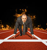 Business challenge. Businessman is ready to start a business challenge Stock Photography