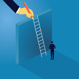 Business Challenge Concept. Businessman Climb Ladder on High Wall. Vector illustration. Business leadership challenge concept. Businessman thinking at the front Stock Image
