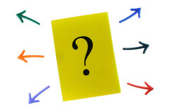 Business challenge concept and problem solving idea. Question mark and colorful arrow on white background, business concept and problem solving idea Royalty Free Stock Image