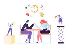 Business challenge, corporate rivalry concept. Business people characters armwrestling at office desk. Vector illustration royalty free illustration