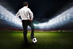 Business challenge. 3D rendering. Business man ready to the challenge in the stadium. 3D rendering Royalty Free Stock Image