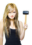 Business Challenge Over Adversity On White. Determined, Firm And Resolute Business Woman Holding Mallet Looking To Hit The Nail Over The Head In A Business Stock Images