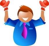 Business champion. Happy man champion in business - icon people series Royalty Free Stock Images