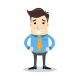 Business character with grimace expression and orange tie Royalty Free Stock Images