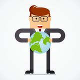 Business character holding earth Royalty Free Stock Photos