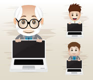 Business character with laptop Royalty Free Stock Photography