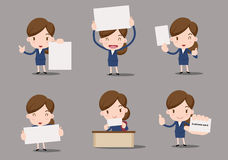 Business character. At the office, blank paper, business women Royalty Free Stock Images