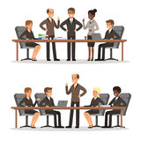 Business character at the table in conference hall. Man and woman in rich costume. Vector illustrations set. Of business conference and briefing with workgroup Stock Photography