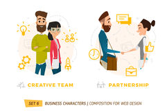 Business characters in circle. Royalty Free Stock Image
