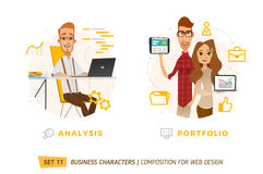 Business characters in circle. Royalty Free Stock Photography