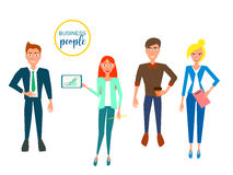 Business characters. Design Set with Employees. Vector Illustration. Royalty Free Stock Image