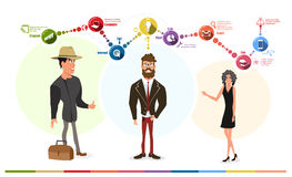 Business characters with the leader Stock Image