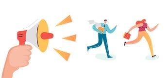 Business Characters Running to Work Office. Boss Shouting in Loudspeaker Employees Rush. Deadline Overtime Concept. Vector illustration vector illustration