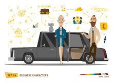 Business characters scene. Rich peoples near car. EPS 10 Stock Image