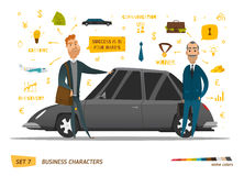 Business characters scene. Rich peoples near car. EPS 10 Royalty Free Stock Image
