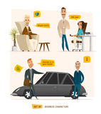 Business characters scene. Rich peoples near car. Some office scene Royalty Free Stock Photography