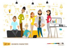 Business characters scene. Teamwork in modern business office vector illustration