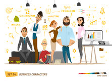 Business characters scene. Teamwork in modern business office royalty free illustration