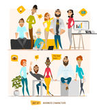 Business characters scene. Teamwork in modern business office Royalty Free Stock Photo