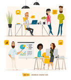 Business characters scene. Teamwork in modern business office Royalty Free Stock Photography