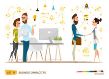 Business characters set. Business characters scene. Teamwork in modern business office royalty free illustration