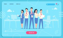 Business characters web page. Flat office people cartoon funny male and woman. Business character team vector website