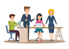 Business characters working in office, business man entrepreneur with colleagues. Group of office workers. Set of business characters working in office Stock Photos