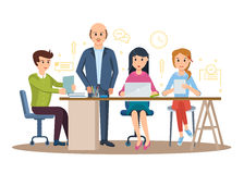 Business characters working in office, business man entrepreneur with colleagues. Set of business characters working in office, business man entrepreneur with Stock Photo