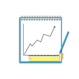 Business chart. Note paper with pencil and good target business chart Stock Photo
