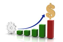 Business chart. With dollar.3D Stock Image