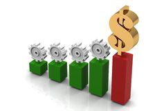 Business chart. With dollar.3D Stock Photos