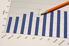 Business chart. With pencil Royalty Free Stock Images
