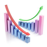 Business chart 3d. Over white background Stock Photography
