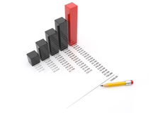 Business chart 3d. Isolated Stock Photo