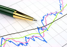 Business chart. Colourful business chart and pen Stock Photo