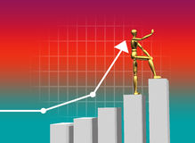Business chart. 3d rendered golden business man going to up in arrow background Stock Photos