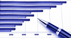 Business chart. Pen on Positive Earning Graph Royalty Free Stock Photography