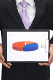 Business chart. Businessman holding pie chart on white Stock Photos
