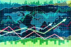Business chart with arrows, global business concept Royalty Free Stock Image