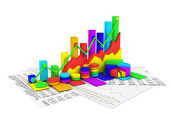 Business chart background. Colorful business chart background - 3d render Royalty Free Stock Photography