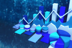 Business chart background. 3D render Royalty Free Stock Photo