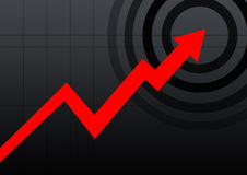 Business chart black. Red arrow business chart in black lines background Stock Photography